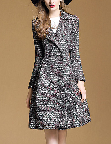 Damen Solide Anspruchsvoll Ausgehen Standard Mantel Winter Herbst Polyester