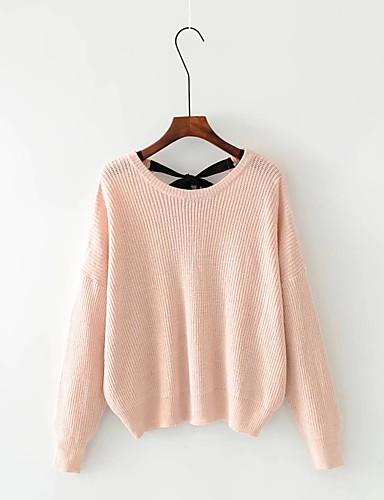 Damen Standard Pullover-Ausgehen Lässig/Alltäglich Solide V-Ausschnitt Langarm Baumwolle Andere Mittel Dick Mikro-elastisch
