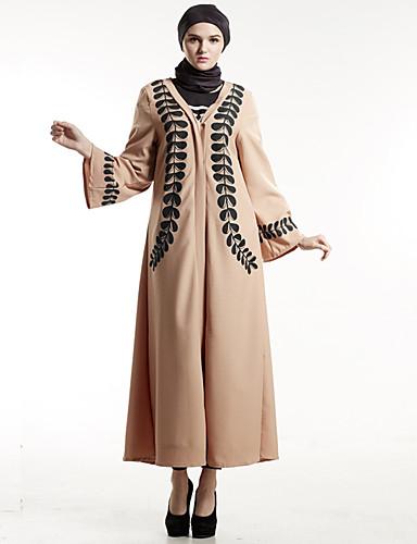 Damen Etuikleid Kleid-Party Boho Druck Einfarbig V-Ausschnitt Maxi Langarm Polyester Herbst Mittlere Hüfthöhe Unelastisch Mittel