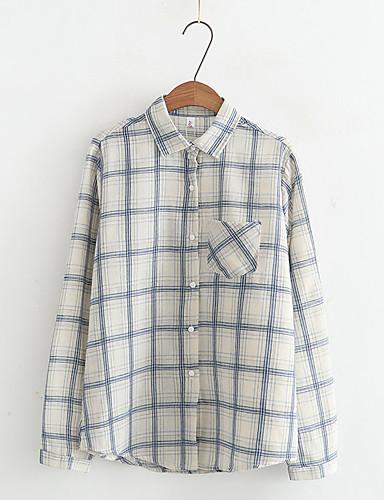 Damen Verziert Ausgehen Lässig/Alltäglich Hemd,Hemdkragen Langarm Baumwolle Leinen Dünn Mittel