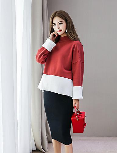 Damen Langarm Pullover-Einfarbig Ständer