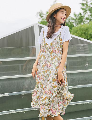 Damen Swing Kleid-Ausgehen Lässig/Alltäglich Blumen Gurt Midi Ärmellos Polyester Hohe Taillenlinie Mikro-elastisch Lichtdurchlässig