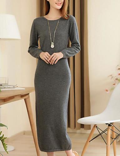 Damen Ausgehen Lose Kleid Solide Maxi Rundhalsausschnitt