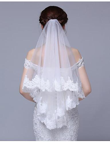 Monistyczny Styl nowoczesny Ślubny Księżniczka minimalistyczny styl Ślub Modern / Contemporary Welony ślubne Welony Elbow Z Haft