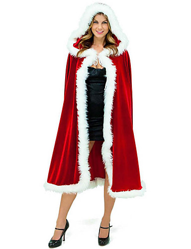 povoljno Božićni kostime-Djed Mraz Mrs.Claus Plašt Santa Clothe Žene Božić Festival / Praznik Pliš Crvena Karneval kostime Jednobojni