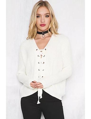 Damen Standard Pullover-Ausgehen Lässig/Alltäglich Solide V-Ausschnitt Langarm Baumwolle Andere Dünn Mittel Mikro-elastisch