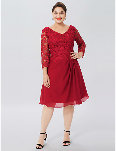 Sheath / Column V Neck Knee Length Chiffon Corded Lace Mother of the Bride Dress with Pleats by LAN TING BRIDE®