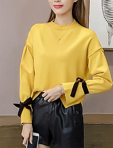 Damen Standard Pullover-Ausgehen Lässig/Alltäglich Einfach Retro Solide Ständer Langarm Polyester Mittel Dehnbar