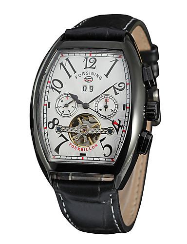 FORSINING Męskie Damskie Nakręcanie automatyczne Zegarek na nadgarstek Kalendarz PU Pasmo Na co dzień Modny Nowoczesne Czarny