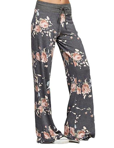abordables Pantalons Femme-Femme Quotidien / Sports A Motifs Legging - Fleur, Le style rétro / Imprimé Taille basse Noir Gris Foncé Gris L XL XXL