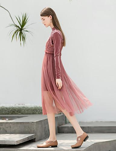 Damskie Vintage Pochwa Sukienka - Jendolity kolor Golf Wysoka Talia Mini
