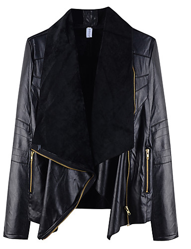 Women's Basic Plus Size Loose Leather Jacket - Solid Colored