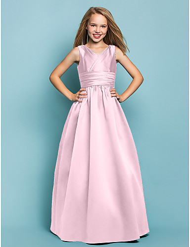 a8c545c5f5ad A-Line / Princess V Neck Floor Length Satin Junior Bridesmaid Dress with  Sash / Ribbon / Criss Cross by LAN TING BRIDE® / Spring / Summer / Fall /  Apple / ...