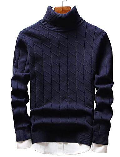 Męskie Moda miejska Golf Pulower Jendolity kolor Długi rękaw