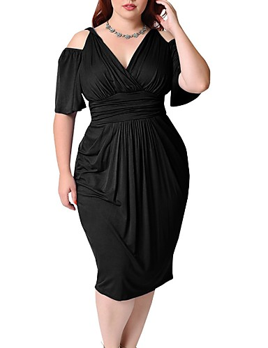 181e3ce7bf Women s Cut Out Plus Size Party Going out Weekend Street chic Sheath Dress  - Solid Colored Black V Neck Spring White Black Red XXXL XXXXL XXXXXL    Slim   ...