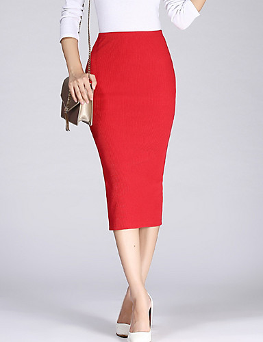Women's Casual / Daily Bodycon Skirts - Solid Colored Split High Waist Black Wine Light gray One-Size