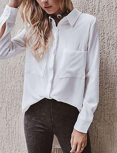Koszula Damskie Moda miejska Kołnierzyk koszuli Jendolity kolor