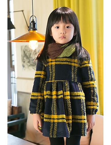 Sukienka Bawełna Poliester Dziewczyny Codzienne Urlop Kratka Zima Długi rękaw Prosty Yellow