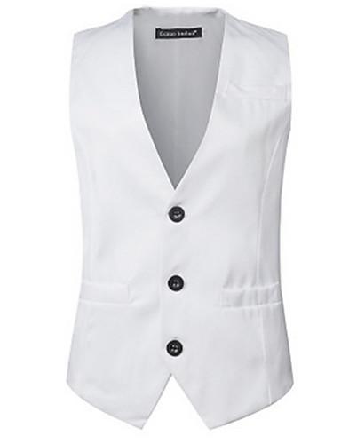 voordelige Herenblazers & kostuums-Heren Dagelijks Street chic Normaal Vest, Effen V-hals Mouwloos Overige Formele Stijl Rood / Licht Blauw / Khaki