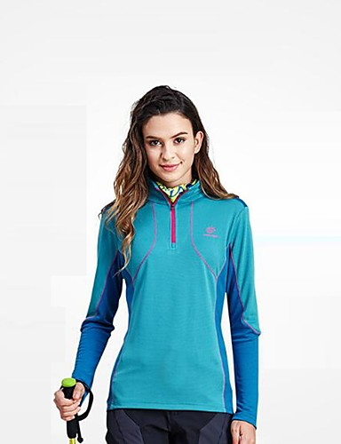 cheap Outdoor Clothing-Women's Hiking Fleece Jacket Outdoor Spring Winter Windproof Fast Dry Quick Dry Top Single Slider Hiking Camping Running Fuchsia / Sky Blue / Violet