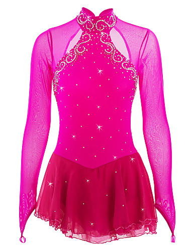 Figure Skating Dress Women's / Girls' Ice Skating Dress Peach Open Back Patchwork Spandex High Elasticity Competition Skating Wear Handmade Jeweled / Rhinestone Long Sleeve Ice Skating / Figure