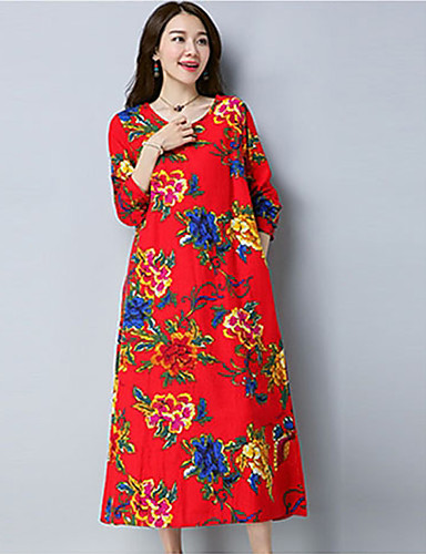 Damen Alltag Ausgehen Tunika Knielang Kleid Blumen Rundhalsausschnitt Langarm Frühling Sommer