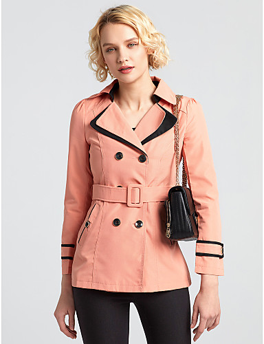 Women's Daily Simple Casual Winter Fall Trench Coat,Solid Peter Pan Collar Long Sleeve Short Cotton