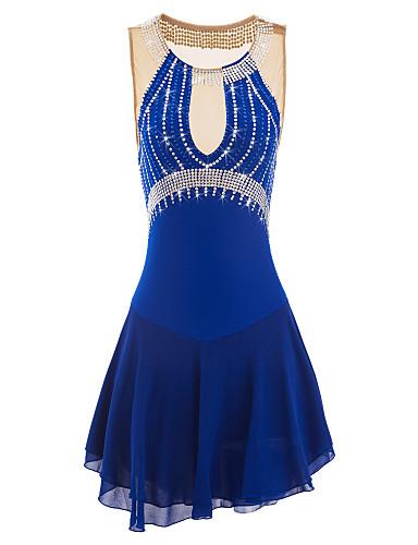 Eiskunstlaufkleid Damen Mädchen Eislaufen Kleider Purpur Blau Strass Leistung Eiskunstlaufkleidung Handgemacht Klassisch Ärmellos