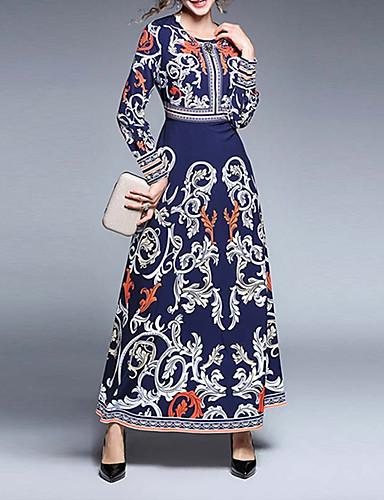 2aee935e25f4 Women's Casual/Daily Boho Street chic Swing Dress,Floral Print Round Neck  Maxi Long Sleeve Polyester Winter Fall Mid Rise Micro-elastic #06433134