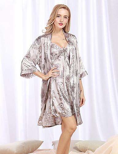 رخيصةأون القمصان وملابس النوم-بدلات منامة للمرأة طباعة,سادة