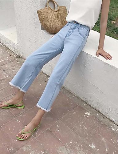 Damskie Spodnie szerokie nogawki Spodnie Jendolity kolor Wysoki stan
