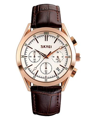 19e83323229e SKMEI Hombre Reloj Deportivo Japonés Cuarzo Cuero Auténtico Negro 30 m  Resistente al Agua Calendario Reloj