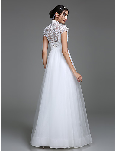 Linha A Decote mergulhador Longo Tule Vestido de casamento com Estampa de LAN TING BRIDE®