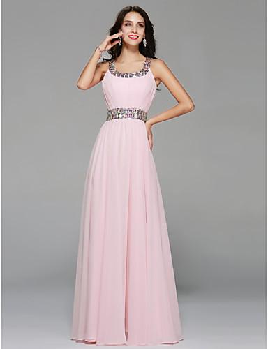 A-line scoop nakke etasje lengde chiffon brudepike kjole med beading draping