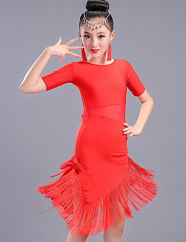 f49ca01d1 Latin Dance Dresses Performance Spandex Tassel Half Sleeve High Dress