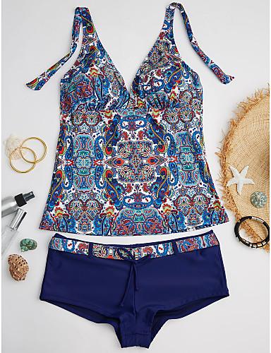 Per Donna Boho Florale All'americana Blu Tankini Costumi Da Bagno - Con Stampe M L Xl Blu #06523907