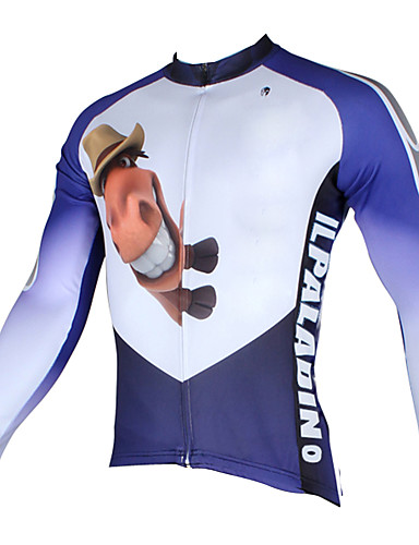 3e66285ef ILPALADINO Men s Long Sleeve Cycling Jersey - White+Sky Blue Animal Cartoon Bike  Jersey Top Breathable Quick Dry Ultraviolet Resistant Sports 100% Polyester  ...