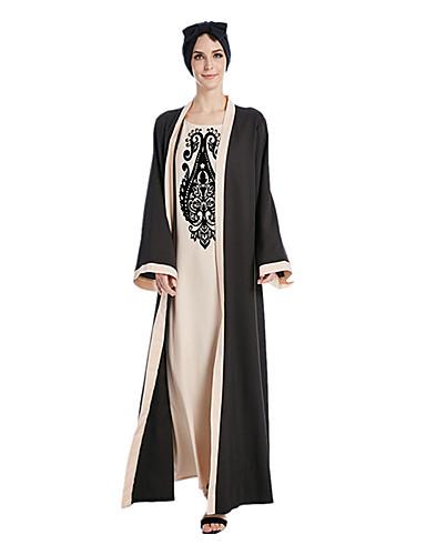 abordables Disfraces étnicas y culturales-Vestido árabe Burca Vestido de Kaftan Mujer Moda Festival / Celebración Poliéster Beige / Morado Traje carnaval Estampado