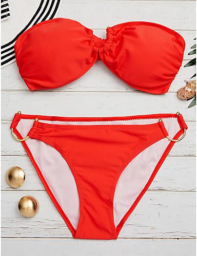 povoljno Ženske majice-Žene Jednobojno Zavoji Red Blushing Pink Bijela Gaće Bikini Kupaći kostimi - Jednobojni Moderna M L XL Red