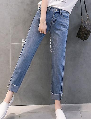 בגדי ריקוד נשים כותנה צ'ינו ג'ינסים מכנסיים - גיזרה גבוהה אחיד