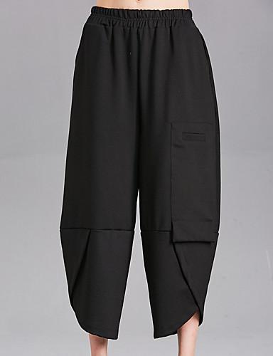 בגדי ריקוד נשים כותנה רגל רחבה מכנסיים - גיזרה גבוהה אחיד / סתיו