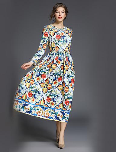 voordelige Maxi-jurken-Dames Werk Street chic A-lijn / Wijd uitlopend Jurk Print Maxi