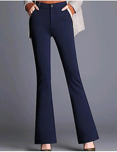 abordables Pantalons Femme-Femme Grandes Tailles Décontracté / Quotidien Chino Pantalon - Couleur Pleine Noir Vert Véronèse Bleu Marine S M L