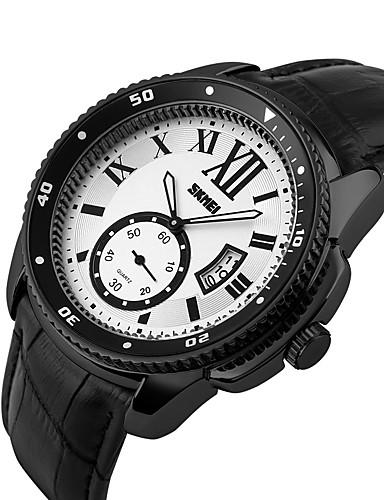 SKMEI לזוג שעוני ספורט קווארץ 30 m עמיד במים לוח שנה שעונים יום יומיים עור אמיתי להקה אנלוגי פאר יום יומי אופנתי שחור - שחור כסף שחור / כסוף / צג גדול