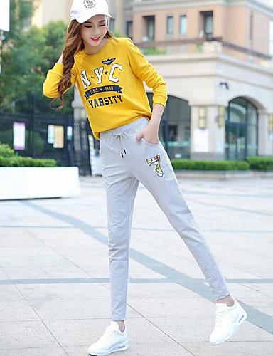 בגדי ריקוד נשים כותנה סקיני מכנסיים דפוס / חורף