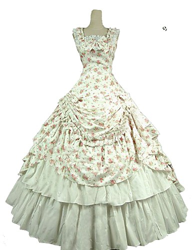 005c01497db Γλυκιά Λολίτα Rococo Victorian Στολές Γυναικεία Φορέματα Σύνολα Λευκό  Πεπαλαιωμένο Cosplay Καθαρό βαμβάκι Αμάνικο Κρύος ώμος Μέχρι τον αστράγαλο  Μακρύ Μήκος ...