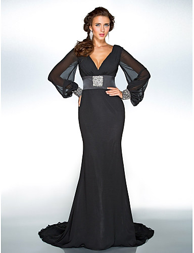 a78b1fe93d0 Sheath / Column Plunging Neck Sweep / Brush Train Chiffon Formal Evening  Dress with Sequin / Crystal Brooch by TS Couture®