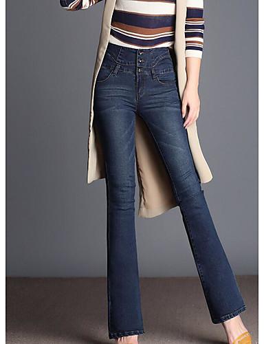 בגדי ריקוד נשים ג'ינסים מכנסיים - גיזרה גבוהה אחיד