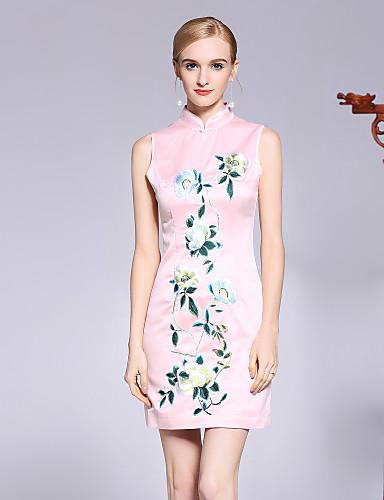 עומד פרח, פרחוני - שמלה גזרת A סגנון סיני בגדי ריקוד נשים