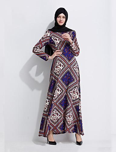 132f543b9 Arabian Dress Abaya Kaftan Dress Jalabiya Women's Fashion Festival / Holiday  Polyster Blue Carnival Costumes Printing